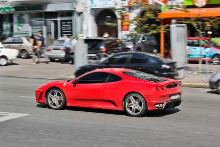 Lviv, Ukraine. October 22, 2014, the Ferrari F430 in motion. Editorial photo.