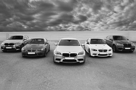 Kiev, Ukraine; October 17, 2016; Super combo supercars. BMW M5 (F10), BMW X6 M & BMW M3 (E92). Black and white photo. Editorial photo.