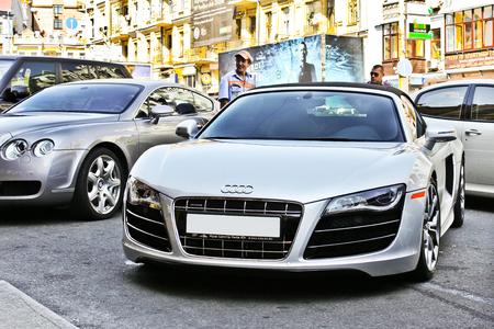 June 17, 2014, Kiev, Ukraine. Audi R8 Spyder and Bentley Continental GT. Editorial photo.