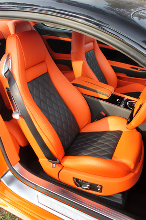 Car interior luxury service. Car interior details Stock Photo