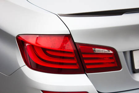 Kiev, Ukraine; April 10, 2014. BMW. Car headlights. Luxury Headlights. Editorial photo.