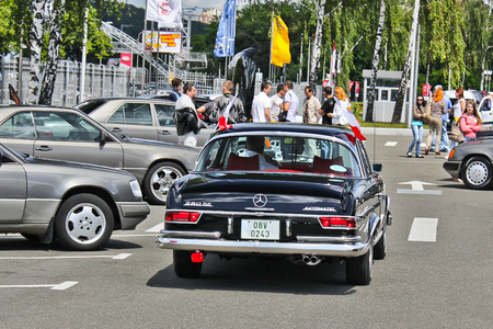 September 3, 2011, Kiev, Ukraine. Mercedes-Benz 280 SE Coupe 1969 in motion. Retro car. Editorial photo.