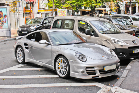 Ukraine, Kiev; August 15, 2013; Porsche 911 Turbo S. Editorial photo.