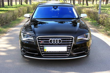 16 August 2015; Ukraine, Kiev. Black Audi S8. Luxurious. Tuning. Supercar. Editorial photo.