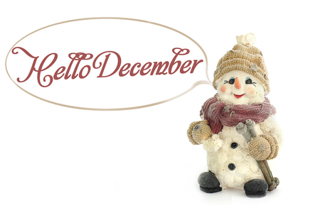 Christmas Snowman says: Hello December. Happy New Year. Christmas. Snowman standing in the snow, on a background of snow.