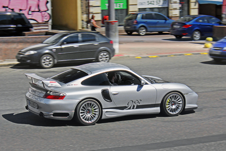 Porsche 911 (996) Turbo 9FF in motion. Editorial photo. Kiev, Ukraine. June 10, 2017.
