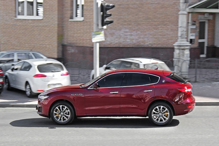 Kiev, Ukraine. June 10, 2017. Maserati Levante. Off-road car Maserati. In motion. Editorial photo. Editorial
