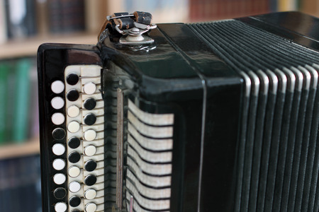 Accordion. Musical instrument. Accordion on a personal table.
