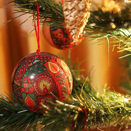 New Year. New Years toys on the Christmas tree. Stock Photo