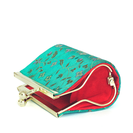 Womens wallet. Coin purse. Embroidered patterns. Stock Photo