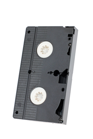 Videocassette on a white background. Cassette Banco de Imagens