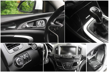 Photo collage. Car interior details Фото со стока