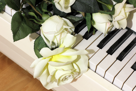 Roses and musical instrument. Flowers and piano.