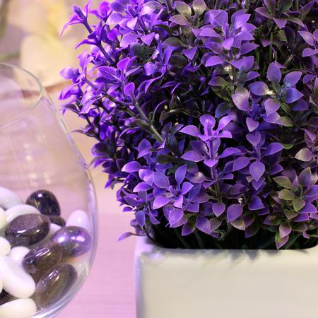 Stones. Flowers in a vase