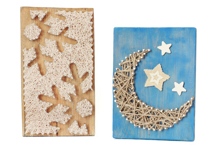 String art. Hand work. Moon and snowflakes
