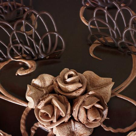 Chocolate cake close up Imagens