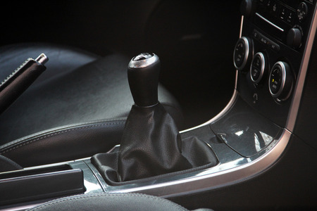 Vehicle interior. Manual gearbox Stock Photo