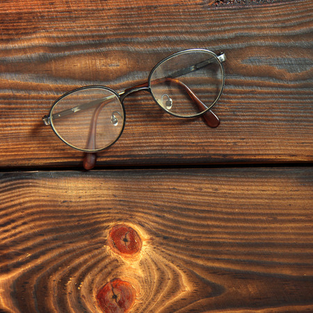 Glasses on a wooden background