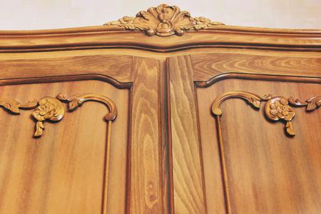 Old antique wardrobe. Wooden furniture Banco de Imagens