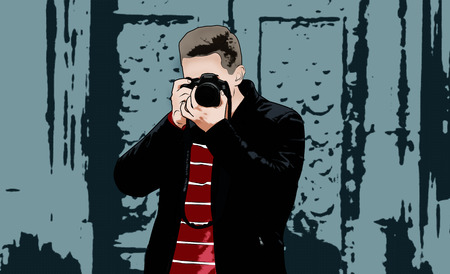 The guy with the camera. Illustration Фото со стока