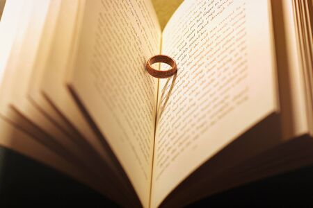 The ring in the book. Wooden ring. Abstract photo