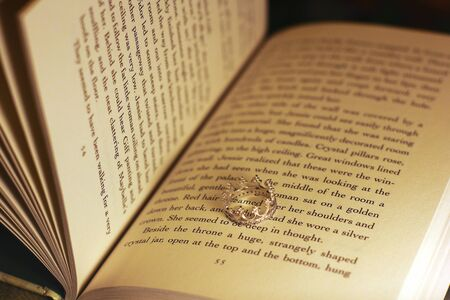 Ring in a book. Ring crown.