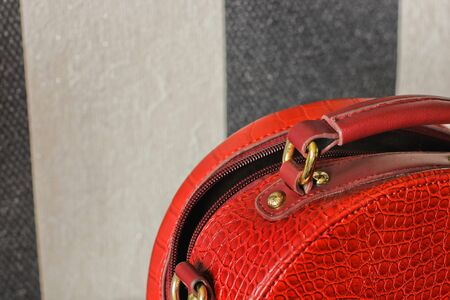 Female bag close up. Red women bag Stok Fotoğraf