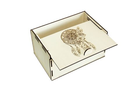 Wooden box on a white background. Handmade box