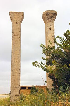 Ruin. Old columns at the entrance. Background