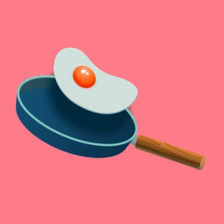 Illustration. Fried eggs and pan Фото со стока - 132271419