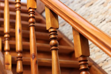 Stairs. Railing of a wooden staircase