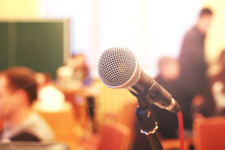 Close up microphone on the background of the hall Standard-Bild