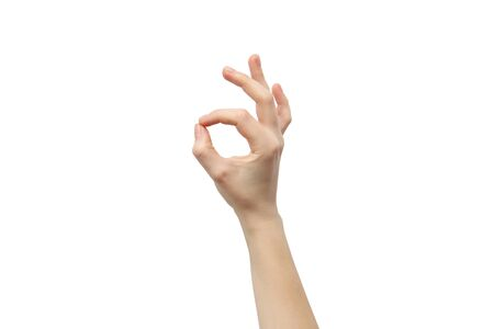 Hand on a white background. Hand shows the OK