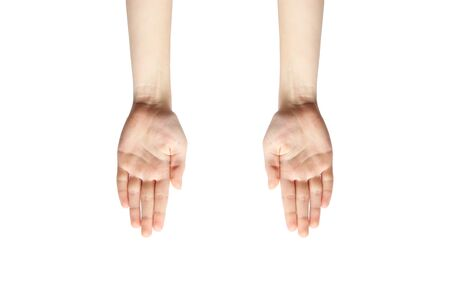 Hands on a white background. Female hands. Palms 版權商用圖片