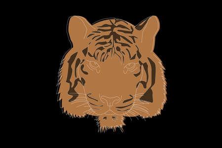 Drawing of a tiger. Tiger head full face. Simple linear drawing of a tiger. Wild animal