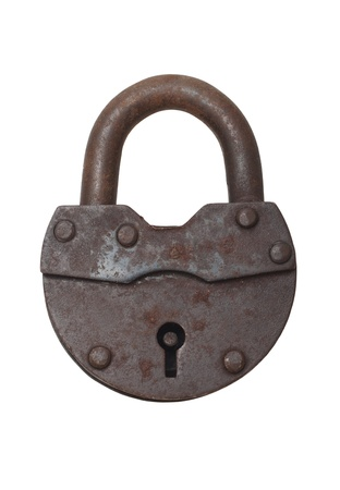 key lock: Old vintage lock on a white background (isolated). Stock Photo