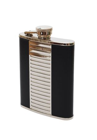 Chrome flask for drinks, decorated the skin on a white background (isolated). Stock Photo