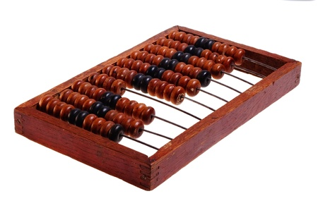 Old abacus, isolated on a white background (retro).