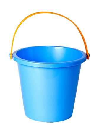 sand toys: Blue children bucket isolated on a white background.