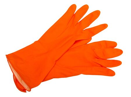 The orange rubber gloves isolated on white background. photo