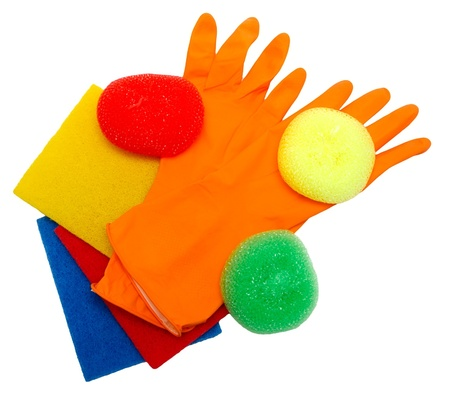 Kit for cleaning (rubber gloves, sponges, napkins) isolated on a white background.