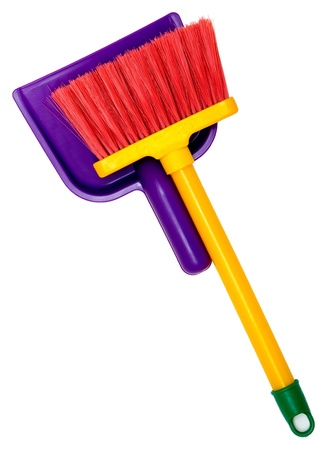 Childrens broom and dustpan isolated on white background Stock Photo