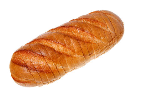A loaf of bread sliced isolated on a white background.