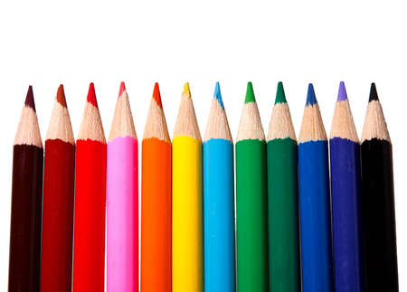 Colorful watercolor pencils for children isolated on white background.