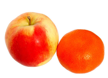 Fresh red apple and tangerine isolated on a white background. Stock Photo