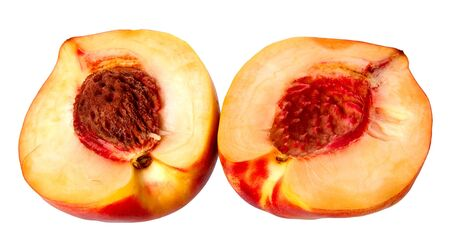 Fresh red peach isolated on a white background. Stock Photo