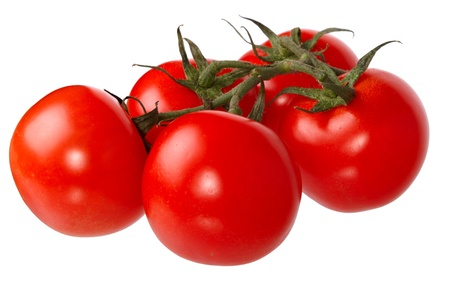 Fresh red tomatoes isolated on a white background