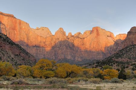 Dawn paints Towers of the Virgin red, competeing with the yellows of the autumn foliage in Zion Canyon National Park. photo