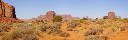 panoramics: A panorama of the Monument Valley (Navajo Nation) on a fine November morning. Stock Photo