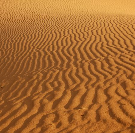 Ripples in the sand in the Coral Pink Sand Dunes Park, Utah lit by the setting sun. 版權商用圖片